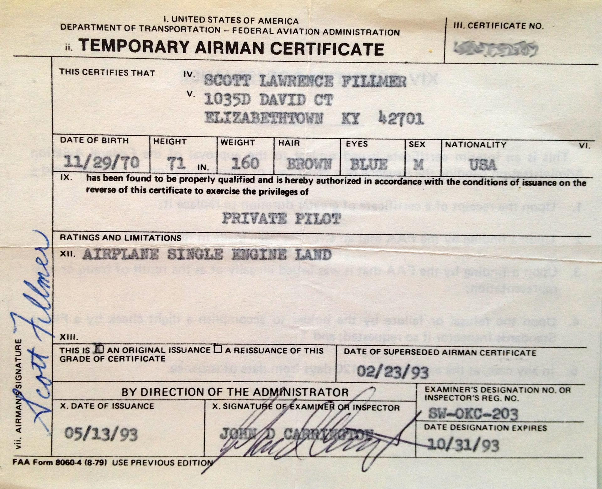 Faa pilots license fillmer airman certificate scott fillmer faa pilots license fillmer airman certificate xflitez Images