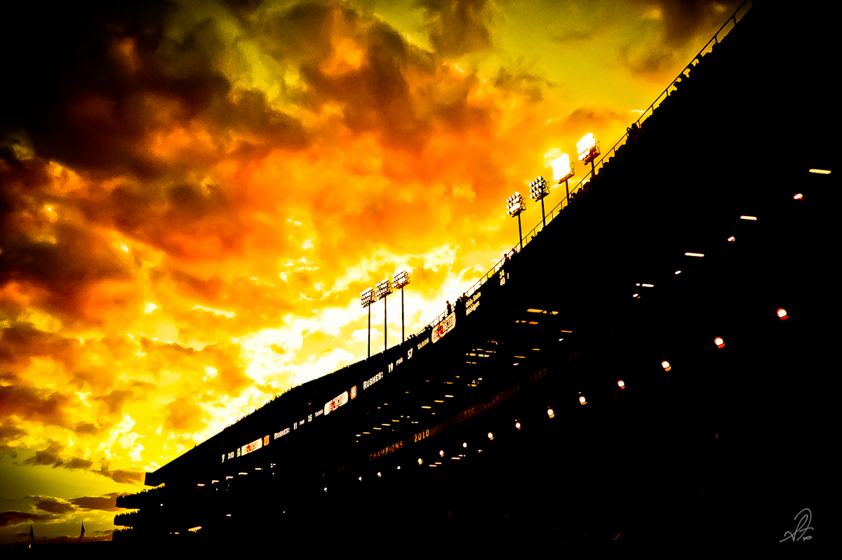 Sunset of Jordan Hare Stadium in Auburn