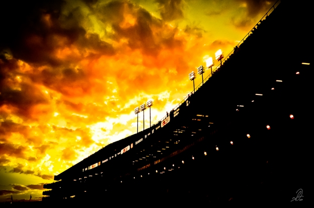 Sunset of Jordan Hare Stadium in Auburn