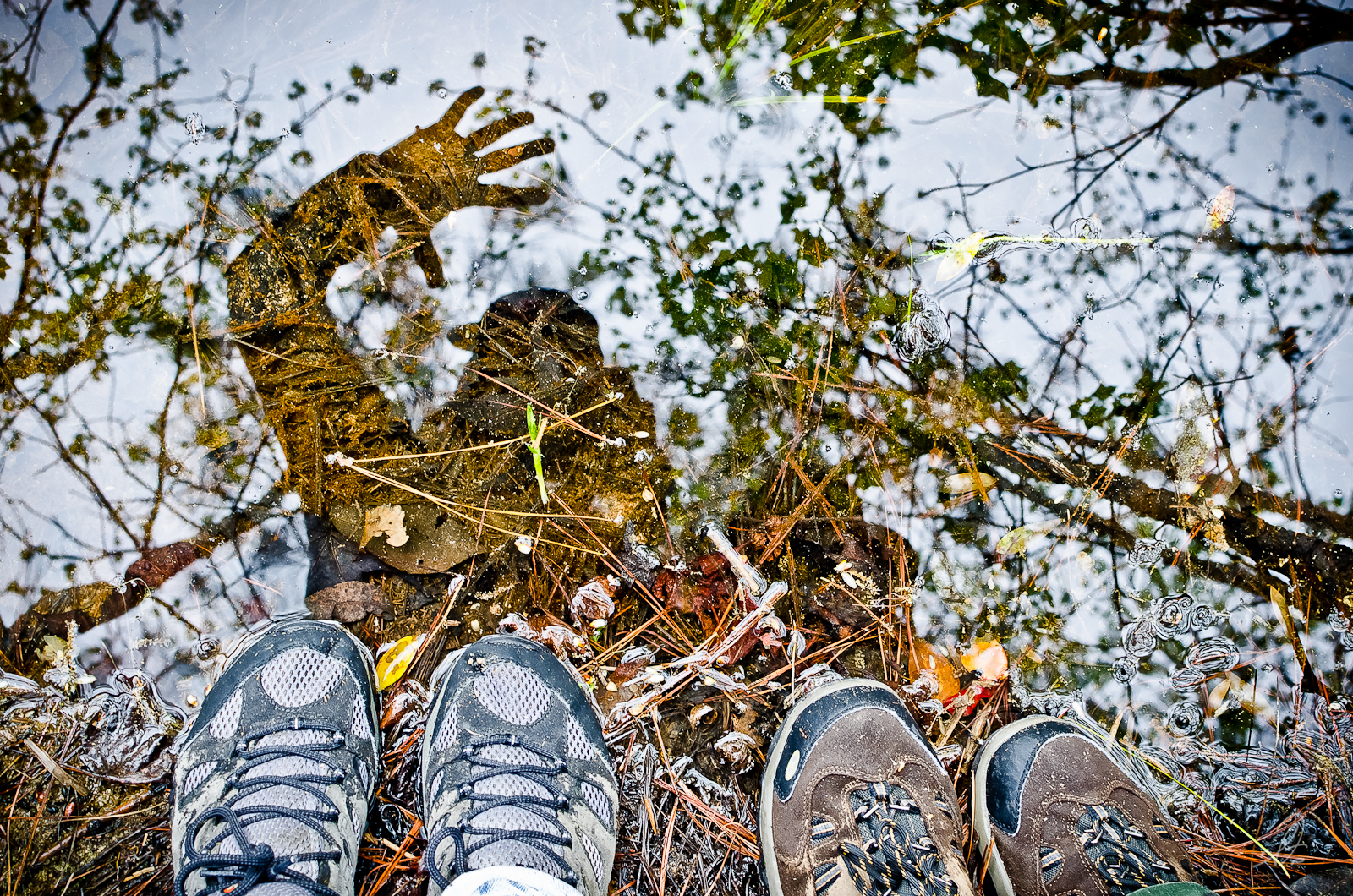 Feet Reflection in the Pond
