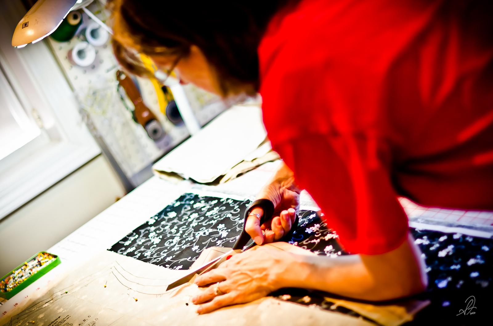 Deborah Cuts Out Fabric