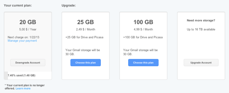 Google Drive Storage 20GB $5 year