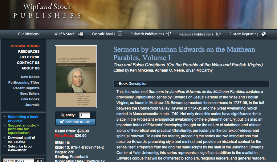 Edwards Sermons Publication