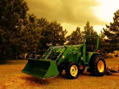 John Deere Tractor Waiting in the Rain