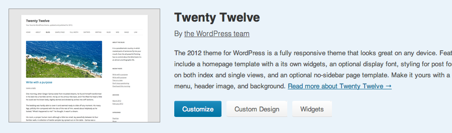 Wordpress.com Twenty Twelve Theme Design
