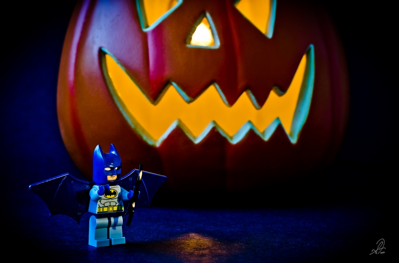 Lego Batman Guards the Halloween Pumpkin