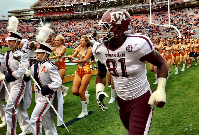 Texas A&M Football Player Warms Up