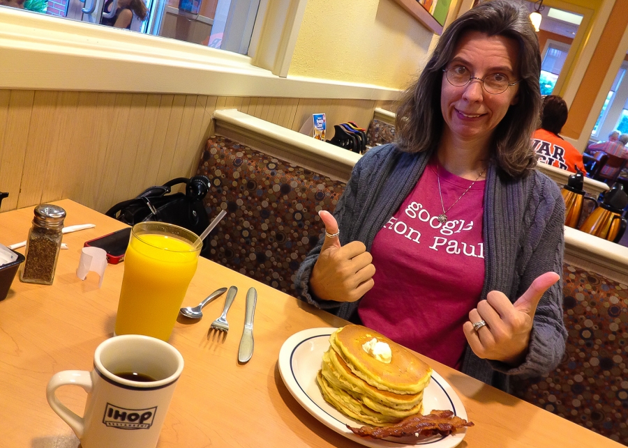 Deborah at IHOP for Breakfast
