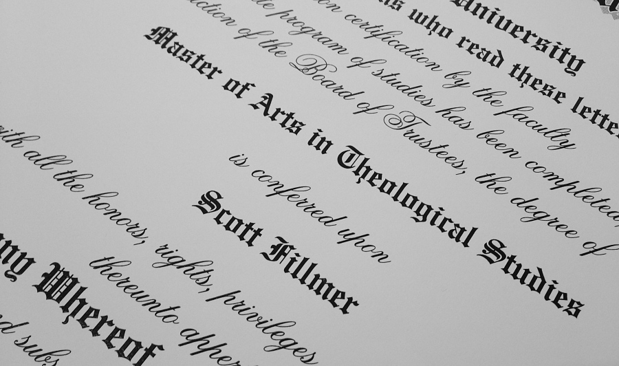Scott Fillmer's Master of Arts in Theology