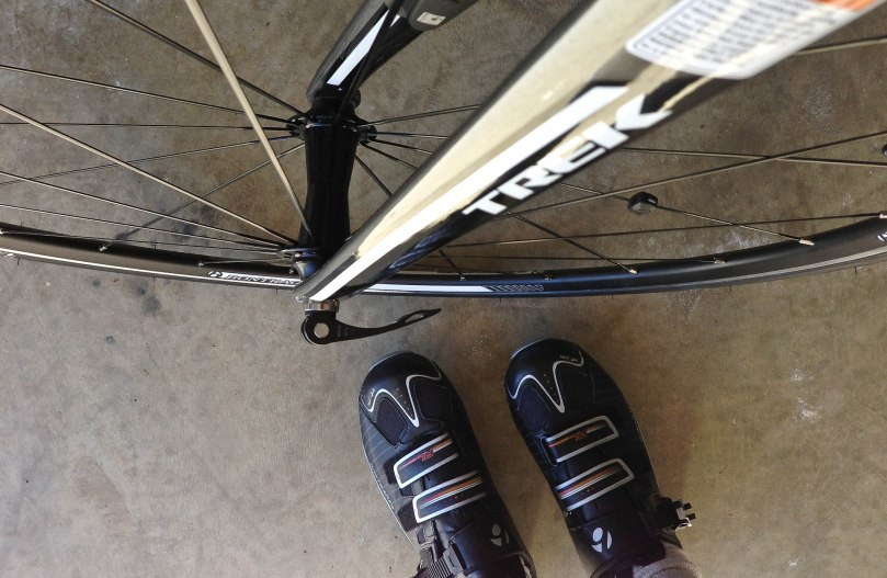 Cleats and the Front Fork of a Trek Madone