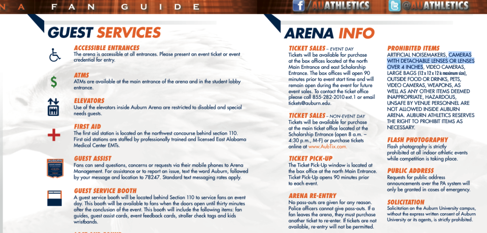 Auburn University Sports Prohibited Items List