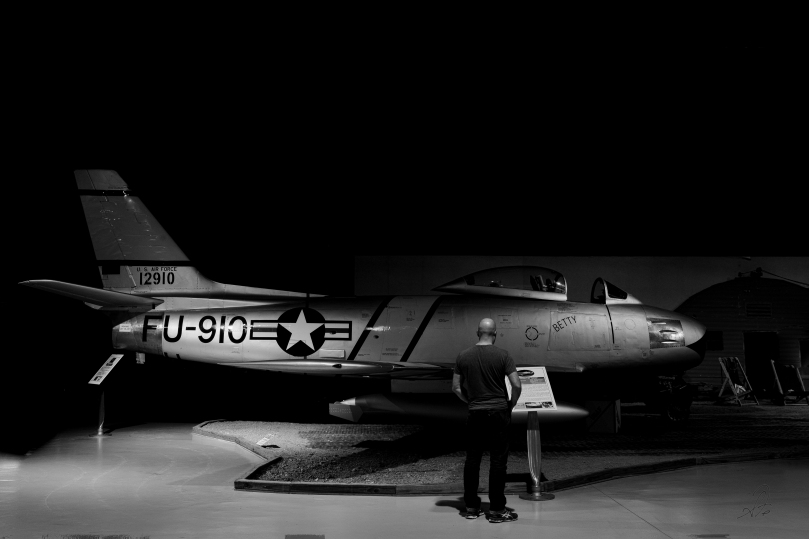 """North American F-86F """"Sabrejet"""" from the Southern Museum of Flight aviation display with self portrait"""