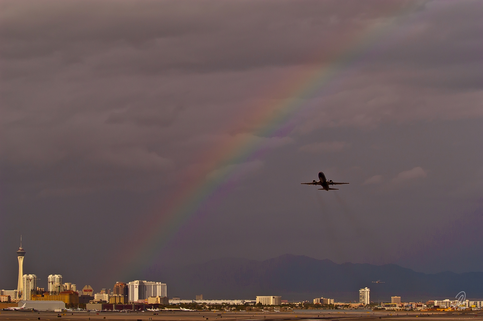 Rainbow Over the Las Vegas Strip from McCarran Airport. LAS