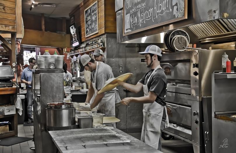 Making pizza at the Mellow Mushroom in Auburn