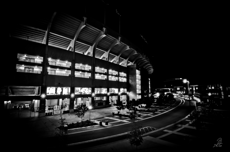 Jordan-Hare Stadium in Auburn Alabama on the night before the first football game of the 2011 season