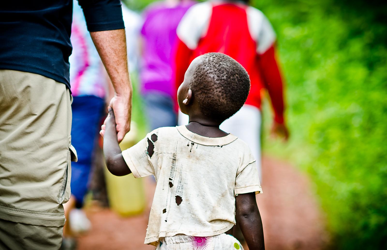 Uganda Girl Walks with the Team