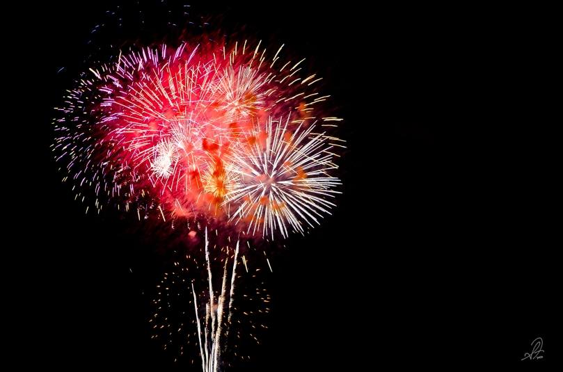 Celebration of 4th of July with fireworks in Auburn at AUO