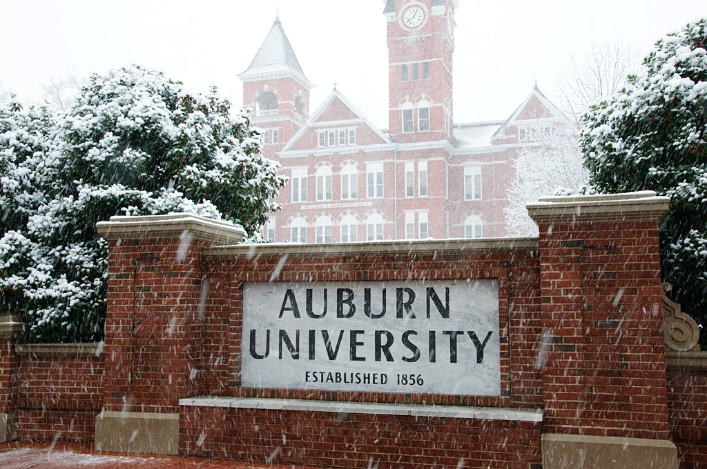 Samford Hall in the Snow
