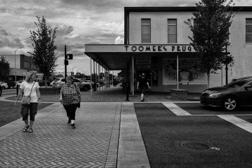 The famous Toomer's Corner Drugstore in Auburn in the summer