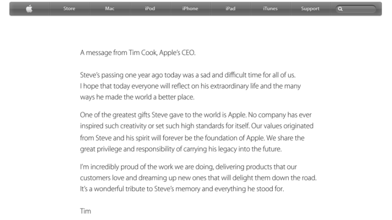 The Front Page of Apple.com on the Anniversary of Steve Jobs Death